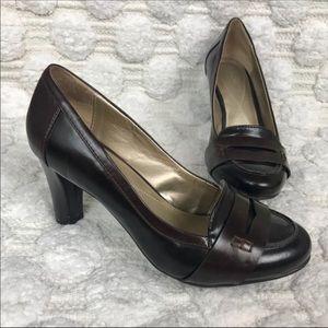 Naturalizer Brown Penny Loafer Heels